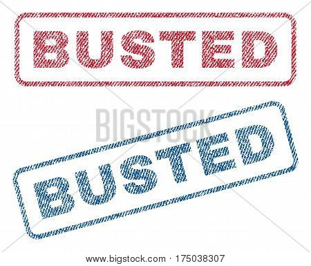 Busted text textile seal stamp watermarks. Blue red fabric vectorized texture. Vector caption inside rounded rectangular banner. Rubber sign with fiber textile structure.