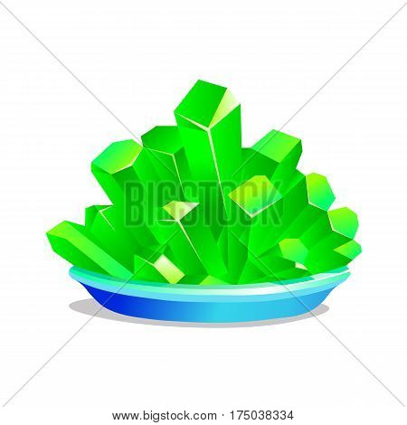 Green crystals of iron vitriol on white background