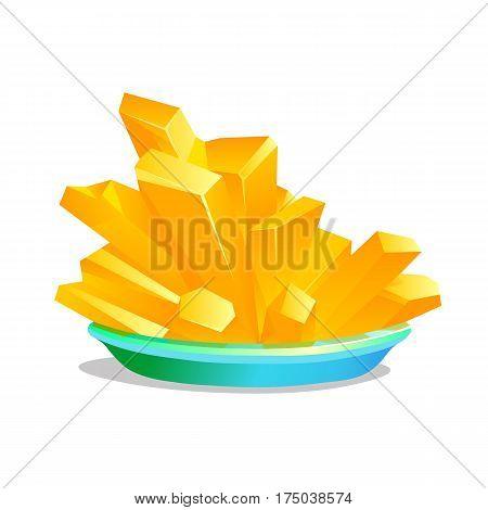 Yellow crystals Potassium hexacyanoferrate on white background