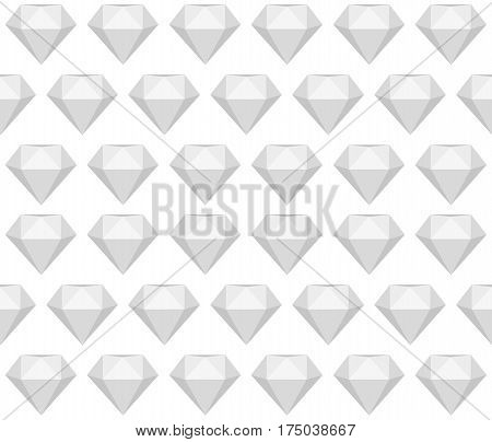 Greyscale seamless diamond - gem - pattern. Polygonal bright gemstone on white background endless texture