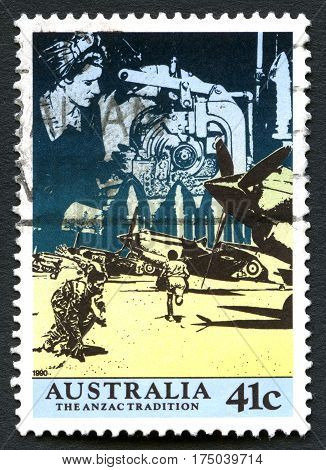 AUSTRALIA - CIRCA 1990: A used postage stamp from Australia celebrating the Australian Anzac Tradition - one of the nations most important occasions circa 1990.