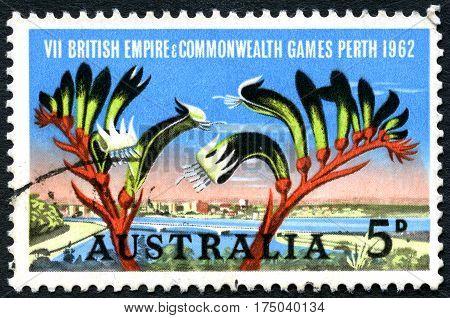 AUSTRALIA - CIRCA 1962: A used postage stamp from Australia celebratingbthe British Empire and Commonwealth Games held in Perth circa 1962.