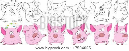 Cartoon animals set. Six funny pink pigs with different emotions. Coloring book pages for kids.