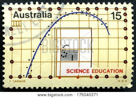 AUSTRALIA - CIRCA 1974: A used postage stamp from Australia depicting an illustration of a graph and celebrating Science Education circa 1974.