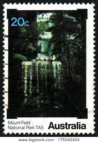 AUSTRALIA - CIRCA 1979: A used postage stamp from Australia depicting an image from Mount Field National Park in Tasmania Australia circa 1979.