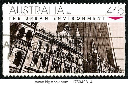 AUSTRALIA - CIRCA 1989: A used postage stamp from Australia celebrating the Urban Environment circa 1989.