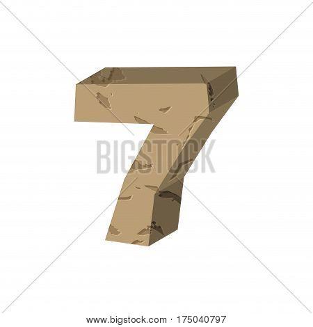 Number 7 Stone. Rock Font Seven. Stones Alphabet Symbol. Rocky Crag Abc Sign