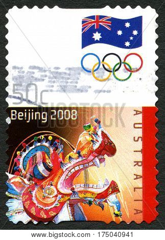 AUSTRALIA - CIRCA 2008: A used postage stamp from Australia commemorating the 2008 Summer Olympic Games held in Beijing circa 2008.