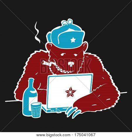 Russian Hacker Vector Character Cartoon eps 8 file format