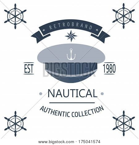 Vintage nautical labels icons and design elements vector. Vintage vector sea anchor rope ribbon design. Premium quality nautical insignia element.