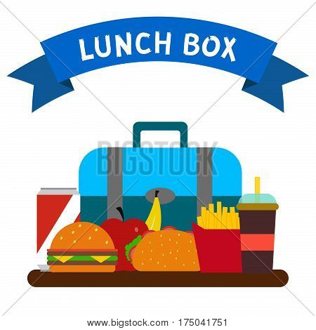 School lunch bags with hamburger fries soda and other food isolated on white background. Kids healthy fruit lunchbox container in school. Children lunch box time vector.