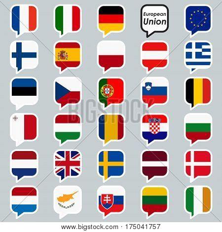 Speech Bubbles With Eu Country Flags