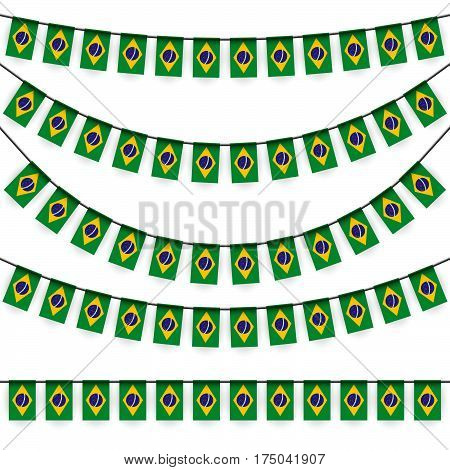 different garlands with national colors of brazil flag