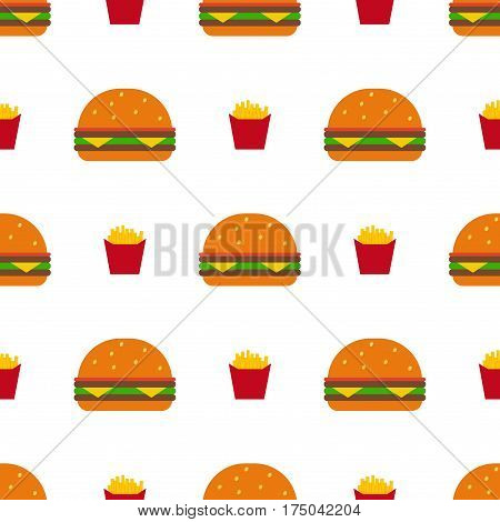 Fast food seamless hamburger vector pattern. Burger and Fast food background. Juicy burger vector eps10. Tasty big juicy burgers with tomato salad cheese on white background. American dinner concept.