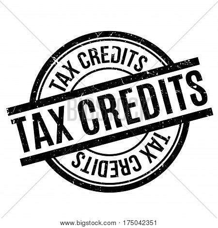 Tax Credits rubber stamp. Grunge design with dust scratches. Effects can be easily removed for a clean, crisp look. Color is easily changed.