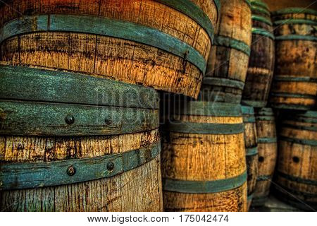 Wine Barrels at a winery in southern California.