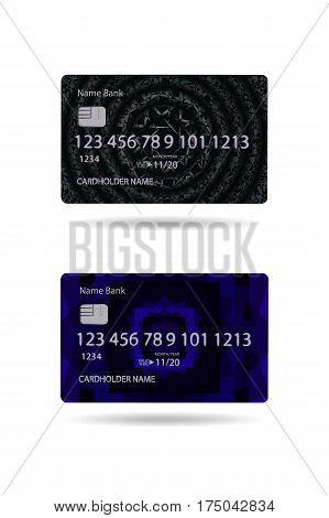 Bank Debit Card Black And Purple Realistic