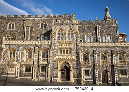 The impressive facade of Norwich Guildhall located on Gaol Hill in the historic city of Norwich UK.