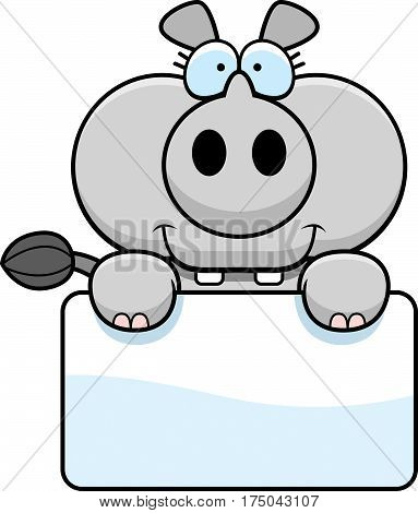Cartoon Rhinoceros Sign