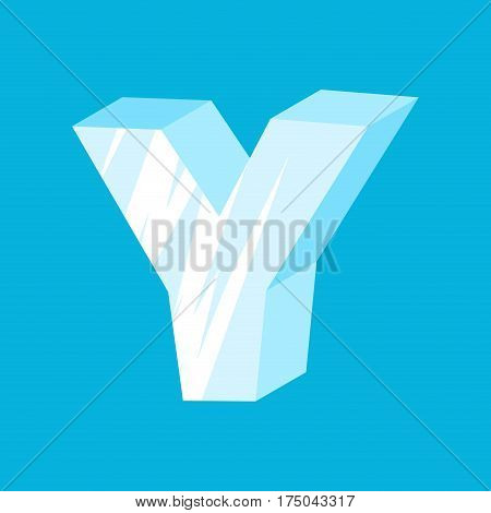 Letter Y Ice Font. Icicles Alphabet. Freeze Lettering. Iceberg Abc Sign