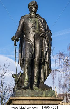 A statue of the Duke of Wellington located in the historic city of Norwich UK.