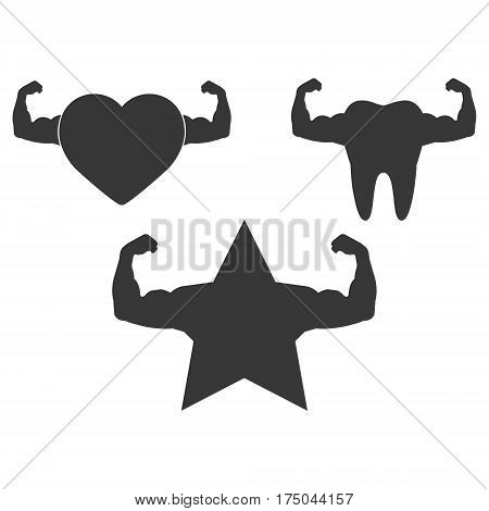 Strong muscular heart and star and a new settor illustration