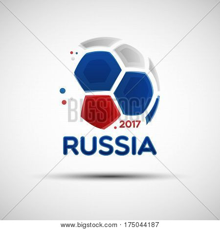 Football championship banner. Flag of Russia. Vector illustration of abstract soccer ball with Russian national flag colors for your design