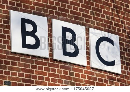 NORWICH UK - JANUARY 17TH 2017: The BBC logo on the exterior of their BBC East headquarters at The Forum in Norwich on 17th January 2017.