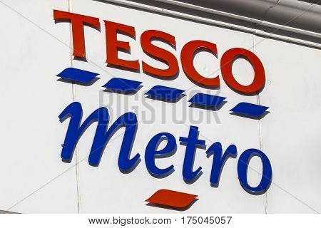 NORWICH UK - JANUARY 17TH 2017: A sign for a Tesco Metro store located in Norwich city centre on 17th January 2017.