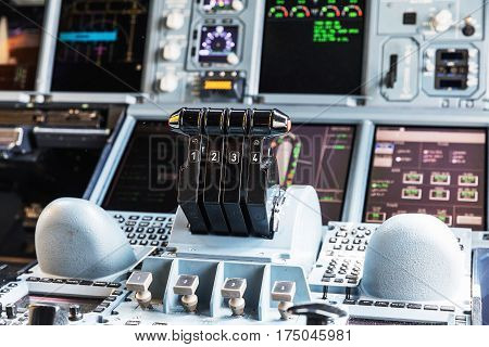 BANGKOK THAILAND - MARCH 7 2017: Detailed view of the dashboard and center console of the largest passenger aircraft Airbus A380-800. Interior Cockpit of Airbus A380 (largest passenger airliner in the world) in Bangkok.