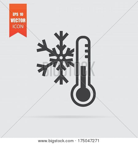 Cold Weather Icon In Flat Style Isolated On Grey Background.