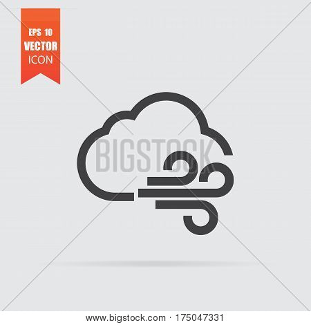 Cloud And Wind Icon In Flat Style Isolated On Grey Background.
