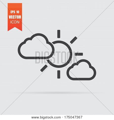Cloudy Icon In Flat Style Isolated On Grey Background.