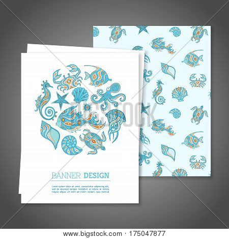 Sea life design set cards. Greeting or Invitation vector card on the marine theme. Sea Branding Design. Banner.
