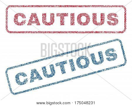 Cautious text textile seal stamp watermarks. Blue red fabric vectorized texture. Vector tag inside rounded rectangular shape. Rubber sign with fiber textile structure.