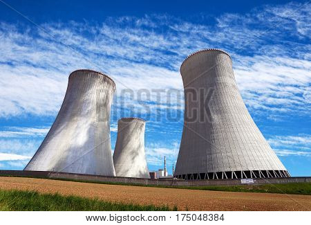 Cooling tower with clouds nuclear power plant Dukovanz Cyech Republic