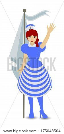 Greeting, farewell man girl sailor flag raising departure departure. Hand up. Isolated on white background. Vector illustration for your design.