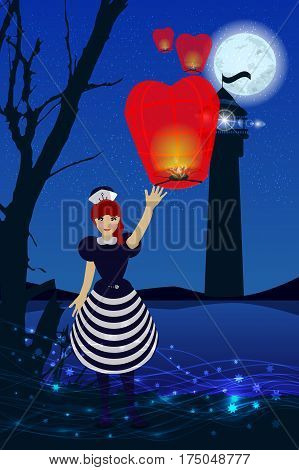 Heavenly night lights sailor signal lighthouse. Marine theme. Isolated on white background. Vector illustration for your design.
