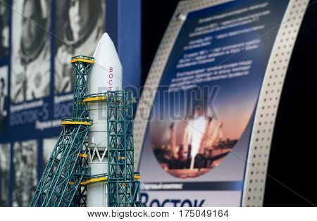 YAROSLAVL, RUSSIA - JUNE 29, 2016: A model of a spacecraft Vostok in The New Cultural and Educational Center with Planetarium in Yaroslavl. The Vostok was a type of spacecraft built by the USSR.