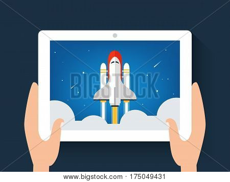 Spaceship or Shuttle Launch Image on a on Digital Tab. Website or App Launch. Start Up Concept. Vector Illustration