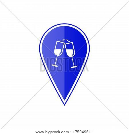 Blue map pointer with wine glasses on the white background. Vector design
