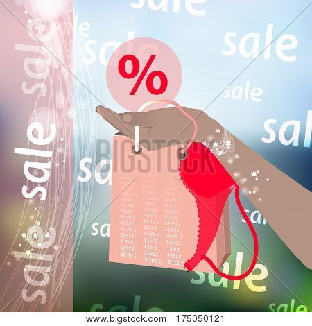 Concept of buying cashless settlement. Hand holding a credit card and a package for realistic purchases with an abstract geometric design, isolated on a photo background. Vector illustration for your design.