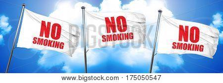 no smoking, 3D rendering, triple flags