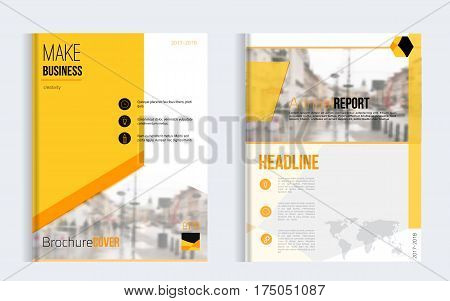 Yellow brochure cover set business vector design. Leaflet advertising background with blured city. Modern magazine layout. Annual report for presentation, poster