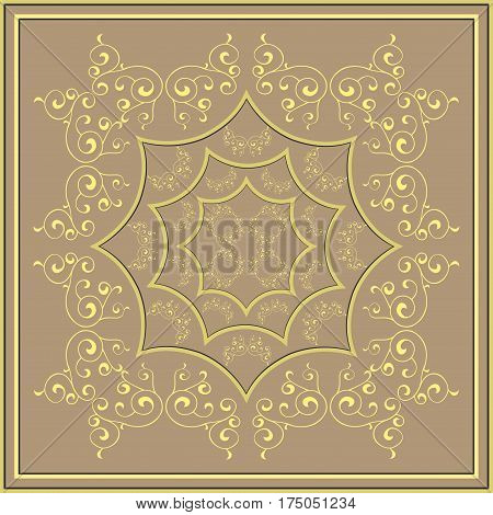 Vector abstract Gold pattern on a bronze background