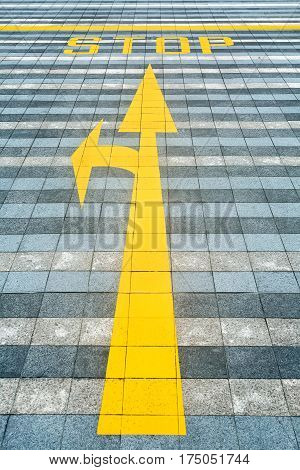 Multi-colored pave with the yellow road marking. There is a line with a two direction arrows and a Stop inscription. Closeup. Vertical.