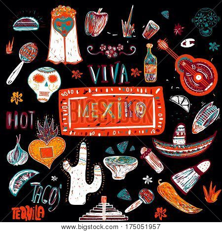 Mexican set in native colorful style with guitar, tacos, sombrero, skull for national cuisine menu, banners, invitation