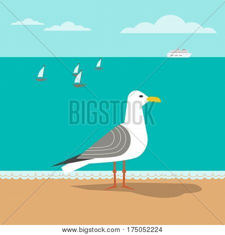 Coast poster concept. Seagull on sandy beach. Freehand fancy cartoon style. Seaside vacation design element. Retro vintage seashore scene. Marine vessel sailing sign symbol. Coastal vector background
