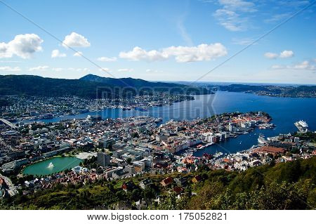 areal view of bergen and its harbor in norway on a sunny day