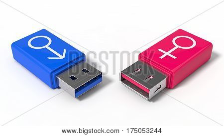 3d illustration of simple usb stick with gender symbols. isolated on white. suitable for gender love and themes.